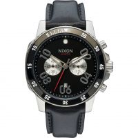 Mens Nixon The Ranger Leather Chronograph Watch