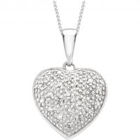 Ladies Essentials 9ct White Gold Diamond Heart Pendant