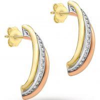 Ladies Essentials 9ct Gold Three Colour Cubic Zirconia Earrings AJ-15040228