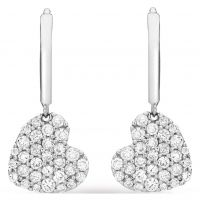 Ladies Essentials 9ct White Gold Cubic Zirconia Heart Drop Earrings