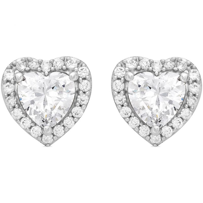 Ladies Essentials 9ct White Gold Cubic Zirconia Heart Stud Earrings AJ-15040270