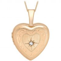 Damen Essentials 9ct Rose Gold 12mm Diamant Set Medaillon