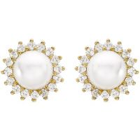 Ladies Essentials 9ct Gold Pearl and Cubic Zirconia Stud Earrings