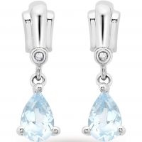 Ladies Essentials 9ct White Gold Diamond and Blue Topaz Earrings