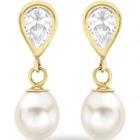 Damen Essentials 9ct Gold würfelförmig Zirconia und Perle Ohrringe