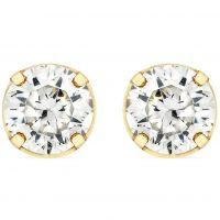 Damen Essentials 9ct Gold 4mm würfelförmig Zirconia Stud Ohrringe