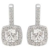 Ladies Essentials Sterling Silver Cubic Zirconia Square Halo Earrings