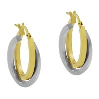 Ladies Essentials Multi colour gold Italian Intertwined Hoop Earrings