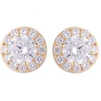 Ladies Essentials 9ct Gold Cubic Zirconia Halo Earrings