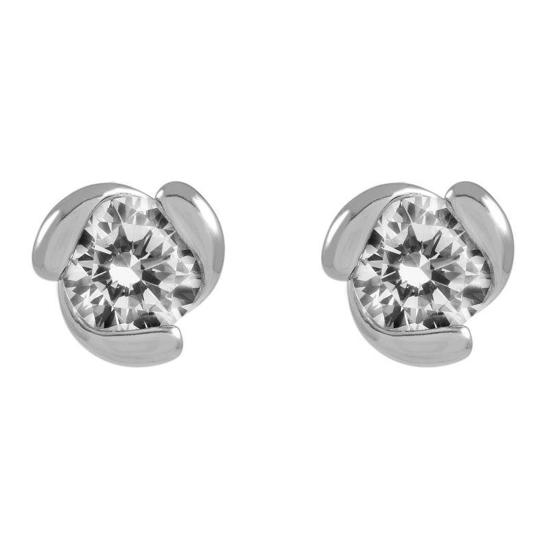 Ladies Essentials Sterling Silver Cubic Zirconia Earrings AJ-37230009