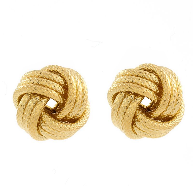 Ladies Essentials Sterling Silver Gold Plated Frost Love Knot Earrings AJ-37233183