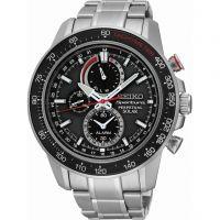 Herren Seiko Sportura Perpetual Wecker Chronograf solarbetrieben Uhr