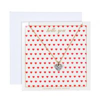 Ladies Johnny Loves Rosie Base metal Hello You Heart Necklace Gift Card