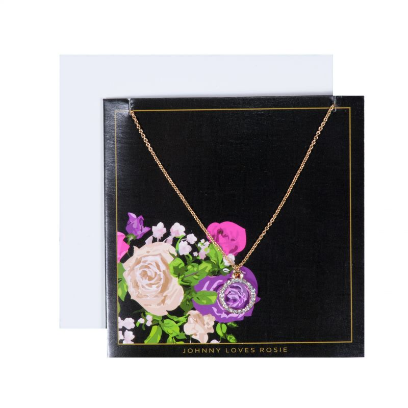 Johnny Loves Rosie Dames Circle Pendant Floral Gift Card Basismetaal JLR-GCARD-FLORAL