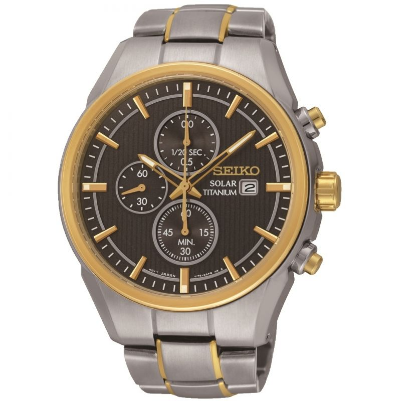 Mens Seiko Titanium Chronograph Solar Powered Watch SSC392P9