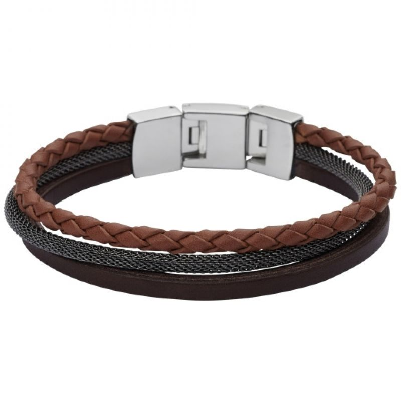 Mens Fossil Stainless Steel Leather Bracelet JF02213040