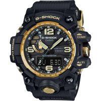 Herren Casio G-Shock Premium Mudmaster Kompass Schwarz x Gold Wecker Chronograf funkgesteuert Uhr