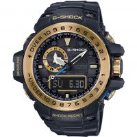Mens Casio G-Shock Premium Gulfmaster Black x Gold Alarm Chronograph Radio Controlled Watch