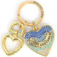 Ladies Juicy Couture PVD Gold plated Blue Pave Heart Keyfob WJW748-710