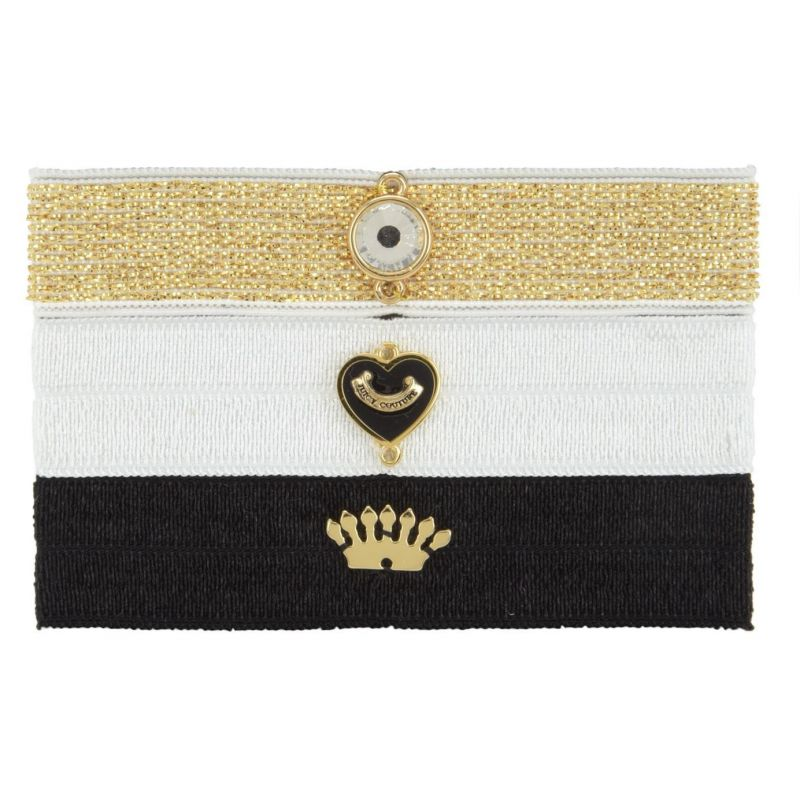 Ladies Juicy Couture PVD Gold plated Flat Charmy Elastics Hair Elastics WJW754-711