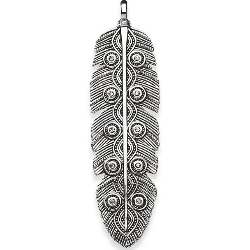 Ladies Thomas Sabo Sterling Silver ETHNO FEATHER PENDANT PE714-643-14