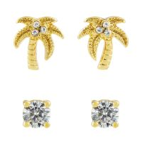 Juicy Couture Dam Palm Tree Stud Earrings Set Guldpläterad WJW880-710-U