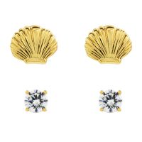 Ladies Juicy Couture Gold Plated Seashell Stud Earrings Set
