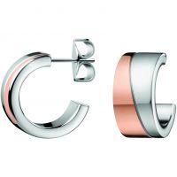 Damen Calvin Klein zwei-Tone Steel und Rose Plate HOOK EARRINGS