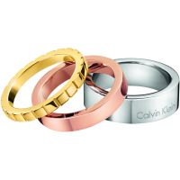 Ladies Calvin Klein Two-Tone Steel and Rose Plate Size L Wonder Ring Set