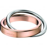 Ladies Calvin Klein Two-Tone Steel and Rose Plate Coil Ring Size I/J KJ63BR010105