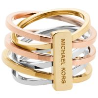 Damen Michael Kors zweifarbig Stahl/vergoldet Ring Größe P