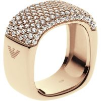 Ladies Emporio Armani Sterling Silver Size M.5 Pure Pave Ring