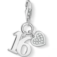 Ladies Thomas Sabo Sterling Silver Charm Club Lucky Number 16 Charm
