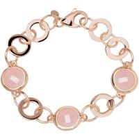 Ladies Bronzallure 18ct Gold Plated Bronze Rose Quartz Bracelet