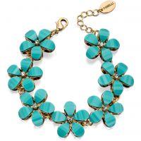 Damen Fiorelli PVD Gold überzogen Blau Schmuckstein Blume Armband