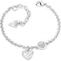 Ladies Guess Rhodium Plated Heart Devotion Bracelet UBB82057-L